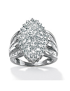 Round Diamond Marquise-Shaped Ring by PalmBeach Jewelry