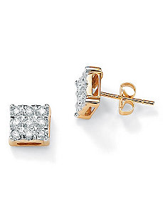Diamond Square Pierced Earrings by PalmBeach Jewelry