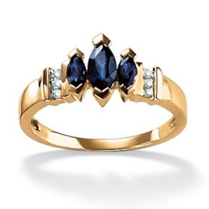 Blue Sapphire & Diamond Accent Ring