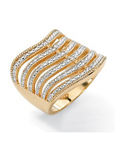 Six-Row Diamond Accent Ring by PalmBeach Jewelry