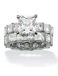 Princess-Cut Cubic Zirconia Wedding Ring Set by PalmBeach Jewelry