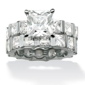 Princess-Cut Cubic Zirconia Wedding Ring Set