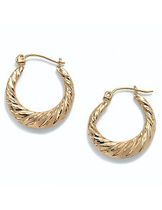Shrimp-Style Hoop Pierced Earrings by PalmBeach Jewelry
