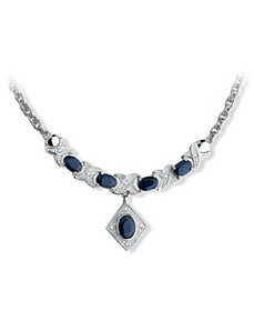 Sapphire & Diamond Accent Necklace by PalmBeach Jewelry