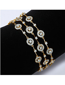 Triple-Row Cubic Zirconia Station Bracelet by PalmBeach Jewelry