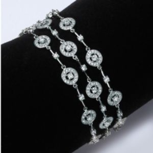 Triple-Row Cubic Zirconia Station Bracelet