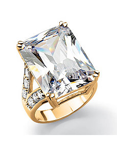 Emerald-Cut and Round Cubic Zirconia Ring by PalmBeach Jewelry