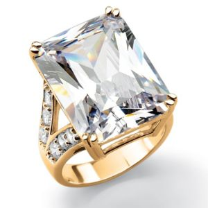 Emerald-Cut and Round Cubic Zirconia Ring