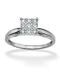 Round Diamond Pave Princess Ring by PalmBeach Jewelry