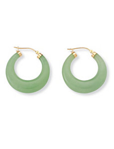 Green Jade Hoop Pierced Earrings by PalmBeach Jewelry