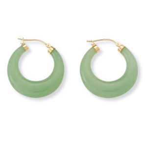 Green Jade Hoop Pierced Earrings