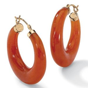 Red Jade Hoop Pierced Earrings