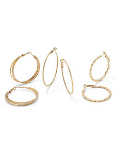 Three-Pair Hoop Pierced Earring Set by PalmBeach Jewelry