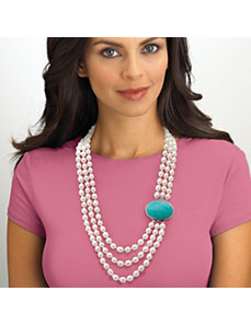 Freshwater Pearl/Turquoise Necklace by PalmBeach Jewelry