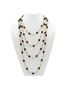 Onyx Barrel and Beaded Necklace by PalmBeach Jewelry