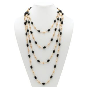 Onyx Barrel and Beaded Necklace