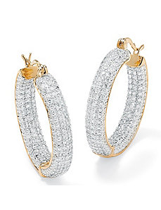 Cubic Zirconia Inside-Out Earrings by PalmBeach Jewelry