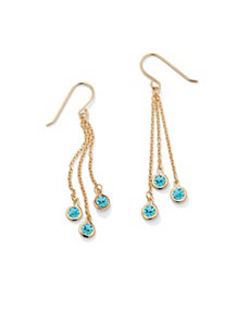Birthstone Chain Drop Earrings by PalmBeach Jewelry