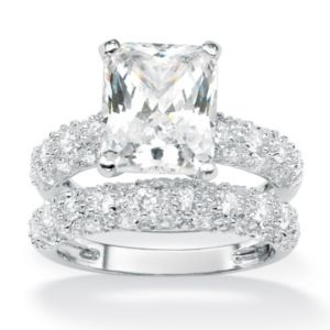 Rectangle and Round Cubic Zirconia Ring Set