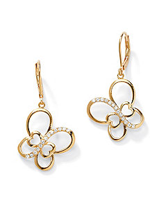 Cubic Zirconia Butterfly Openwork Drop Earrings by PalmBeach Jewelry
