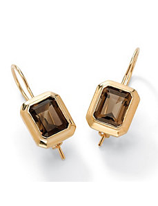 Smoky Quartz Pierced Earrings by PalmBeach Jewelry
