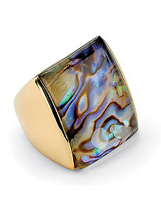 Abalone Square Ring by PalmBeach Jewelry