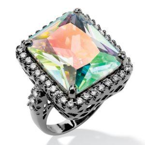 Aurora Borealis & White Cubic Zirconia Ring