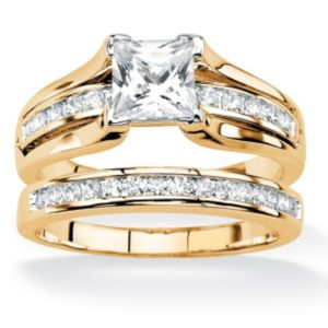 Princess-Cut Cubic Zirconia Wedding Ring Set