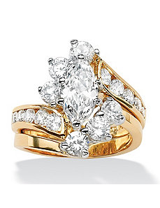 Marquise-Cut Cubic Zirconia Wedding Ring Set by PalmBeach Jewelry