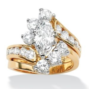 Marquise-Cut Cubic Zirconia Wedding Ring Set