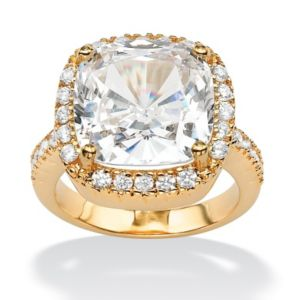 Cushion & Round Cubic Zirconia Ring