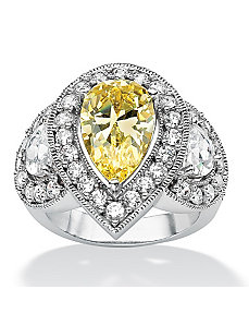 Canary & White Cubic Zirconia Ring by PalmBeach Jewelry