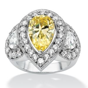 Canary & White Cubic Zirconia Ring