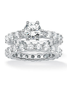 Round Cubic Zirconia Eternity Wedding Ring Set by PalmBeach Jewelry