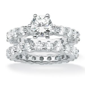 Round Cubic Zirconia Eternity Wedding Ring Set