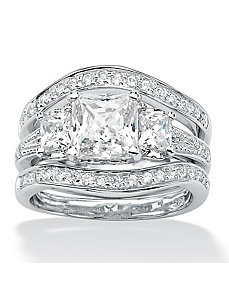 Princess and Round Cubic Zirconia Ring Set by PalmBeach Jewelry