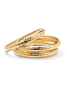 Hammered-Style Bangle Bracelet Set by PalmBeach Jewelry