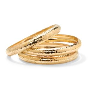 Hammered-Style Bangle Bracelet Set