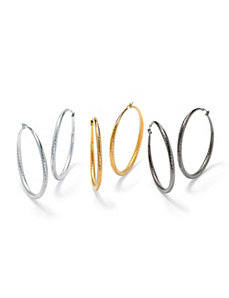 Three-Pair Set of Textured Hoops by PalmBeach Jewelry