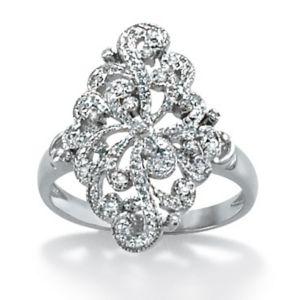Diamond Openwork Filigree Ring