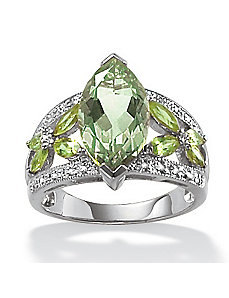 Green Amethyst/Peridot/Dia.Acc.Ring by PalmBeach Jewelry