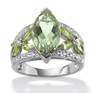 Green Amethyst/Peridot/Dia.Acc.Ring
