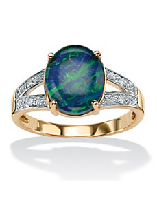 Mosaic Opal and Diamond Accent Ring by PalmBeach Jewelry