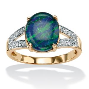 Mosaic Opal and Diamond Accent Ring