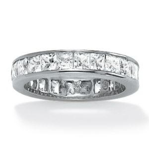 Princess-Cut Cubic Zirconia Eternity Band Ring