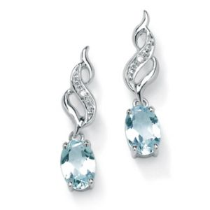 Aquamarine/Diamond Accent Earrings