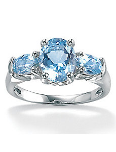 Oval-Cut Aquamarine Ring by PalmBeach Jewelry