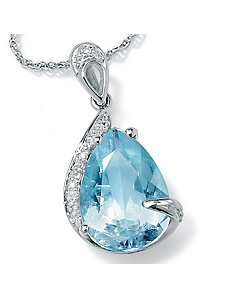 Aquamarine/Diamond Accent Pendant by PalmBeach Jewelry