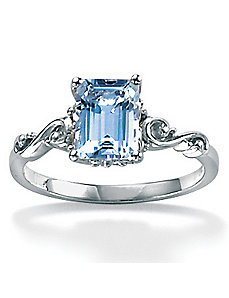 Octagon-Cut Aquamarine Ring by PalmBeach Jewelry