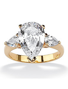 Pear-Shaped Cubic Zirconia Ring by PalmBeach Jewelry